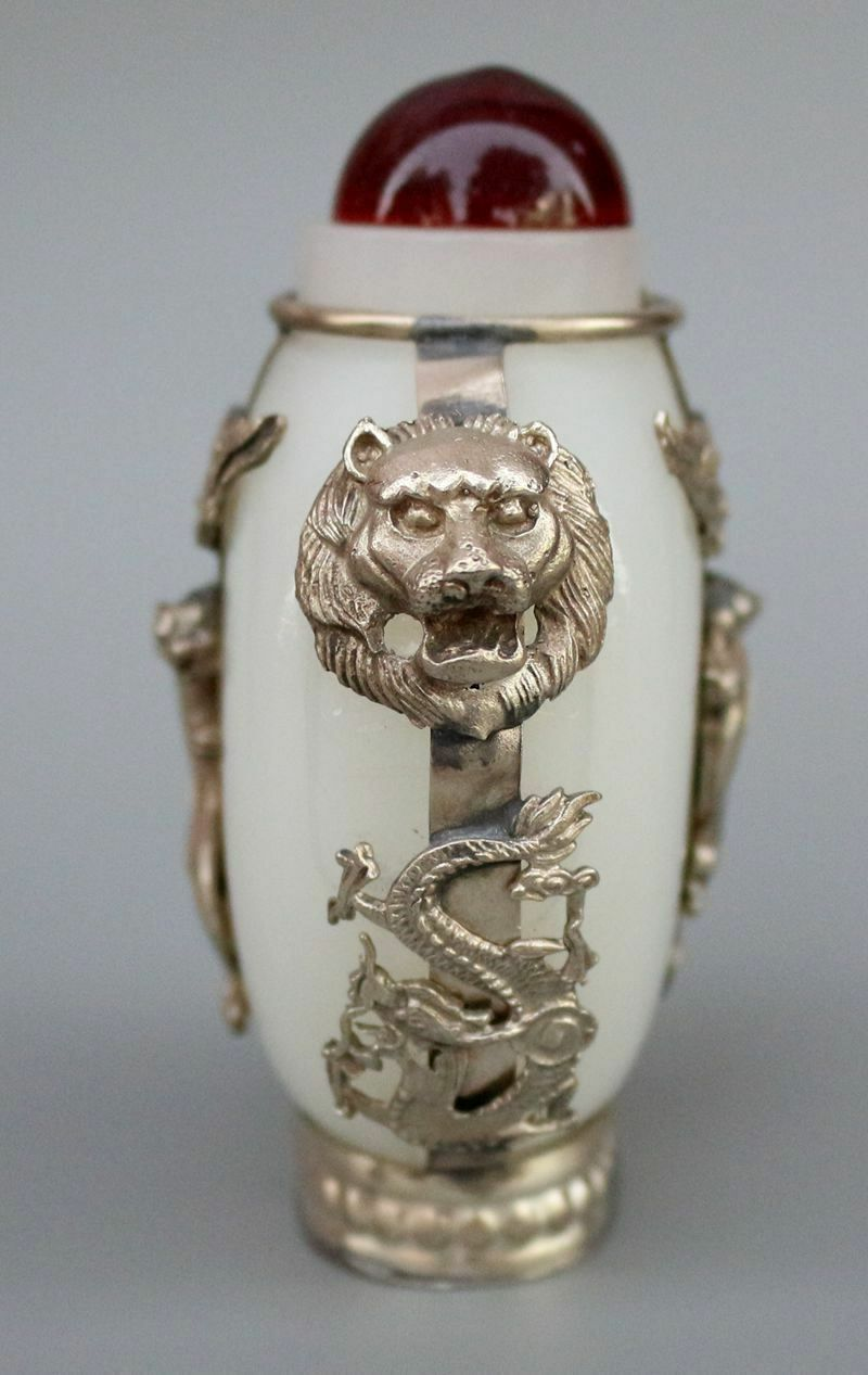 Chinese old Afghanistan White Jade Silver Gecko Snuff Bottle