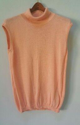 Vintage Benetton Peach Mock Neck Sleeveless Sweater Shirt Tank Top Italy Sz 48