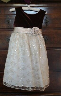Girls Brown Velvet Sparkly Ivory Lace 4T Christmas Holiday (Brown Christmas Holiday Dress)