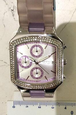 Guess orologio cronografo quarzo nuovo quadrato ghiera con zirconi strap gomma