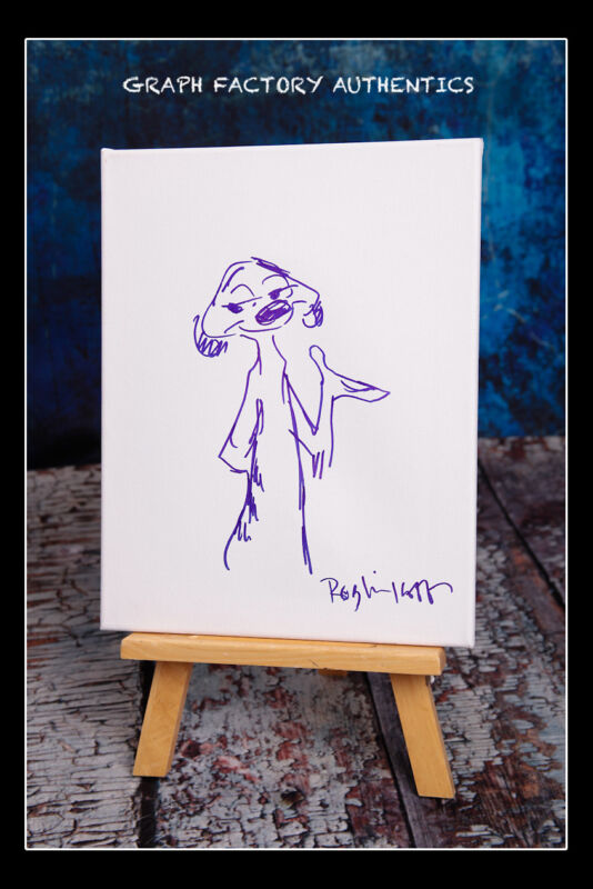 **The Lion King-Timon *ROB MINKOFF* Signed Canvas with Sketch MH1 PROOF COA**