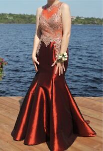 Red Mermaid Beaded Prom Dress Size 10