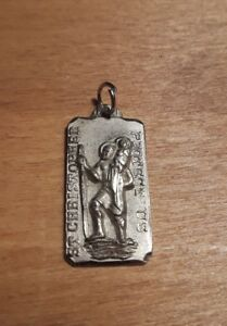 Vintage Chapel Sterling Silver St. Christopher Protect Religious Necklace Medal