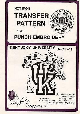 Kentucky University Embroidery ( 1980's VTG Punch Embroidery Kentucky University Transfer Pattern D-CT-11 )