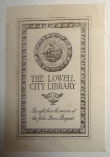 Lowell City Library Ex Libris Bookplate - circa 1912