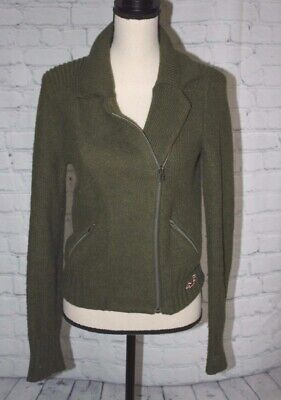 HOLLISTER Women's Sweater Full Zip Crop Casual Jacket Coat Olive Green Size L