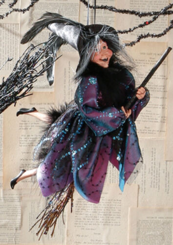 """RAZ Imports 15"""" Hanging/Flying Witch On Broom Ornament - Halloween Collectible"""