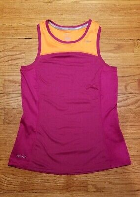 NIKE Women's Dri-Fit Miler Tank Top Running Tennis XS Orange Raspberry Wine -