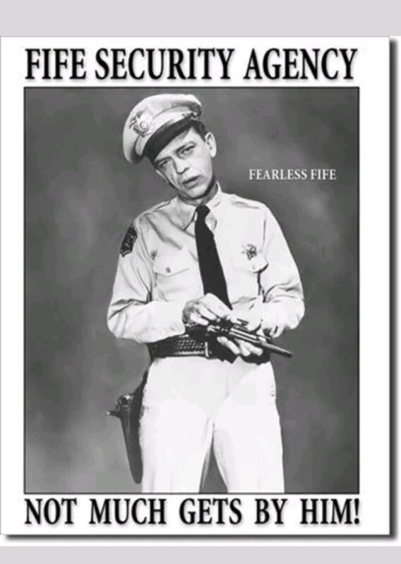 Andy Griffith Show Barney Fife Security Agency Metal Tin Sign