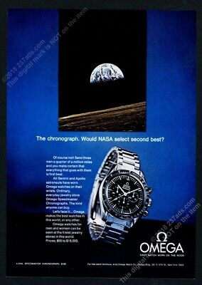 1970 Omega Speedmaster Professional NASA moon watch photo vintage print ad