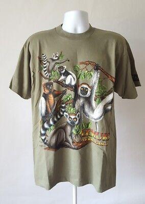 Vintage L T-shirt 1998 Ken Drewke Lemurs of Madagascar Lake Superior Zoo Duluth