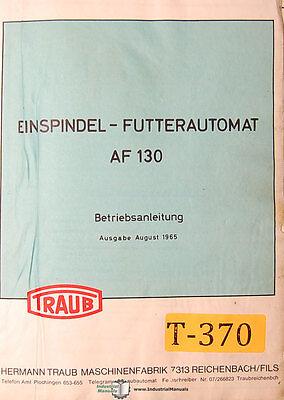 Traub Af 130 Eispindel-futternautomat Betriebsanleitung Manual 1965
