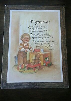 Vintage 1986 Fingerprints Poem Wall Plaque or Stand Alone Plaque by Wendy Lyn   - Fingerprint Poem