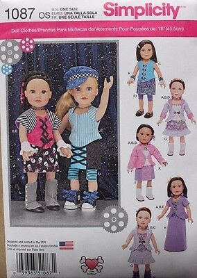 "18"" GIRL DOLL CLOTHES Simplicity Sewing Pattern 1087 American Made NEW Uncut"