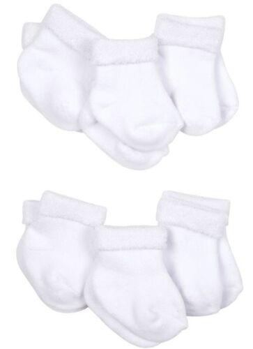 GERBER Unisex 6-Pack Organic Cotton Wiggle-Proof Socks - White - BRAND NEW
