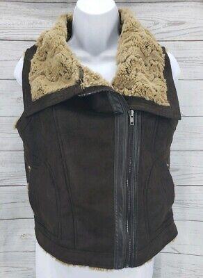 - Olivia & Oak Faux Suede Vest Sz Small  Brown Faux Fur Lined Zip Up Sleeveless