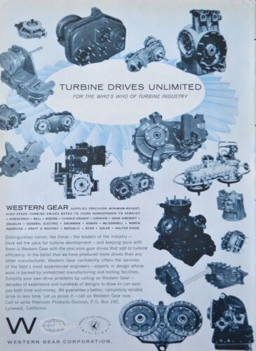 Western Gear Corporation Turbine Gear Drives 10,000 Horsepower 1960 Vintage Ad