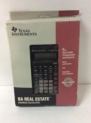Texas Instruments Ba Real Estate Business Calculator Vintage Wbox Manuals