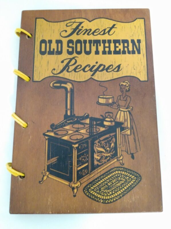 Vintage Wood Cover Cookbook 1971 Culinary  Finest Old Southern recipes  cajun