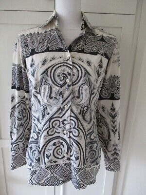Etro Made in Italy Gray Black White Paisley Button Down Blouse Top Size 38