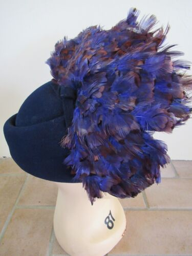 vintage Jack McConnell Boutique navy feather hat feather Derby Church