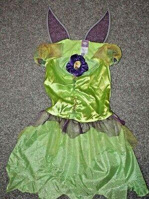 Disney tinkerbell Princess deluxe Dress Costume & wings Halloween sz 4-6 fairy