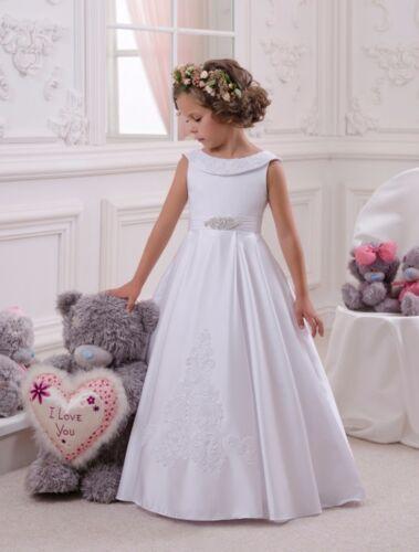 ABAO Children Girl Floor-Length Elegant White Wedding Ball Gown Formal Dress ZG8