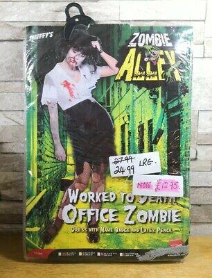WORKED TO DEATH OFFICE ZOMBIE FANCY DRESS COSTUME SIZE LARGE BRAND NEW IN (Zombie Brand Kostüm)