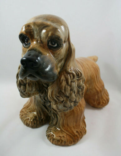 "Large Cocker Spaniel Dog Figurine, Italy,  10.5"" x 14"""