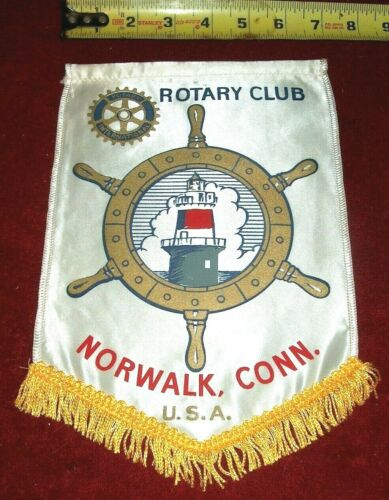 VINTAGE Rotary International Club wall banner flag  NORWALK CONNECTICUT