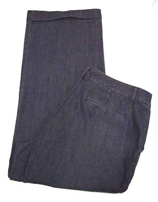 Liz Claiborne Womens Wide Leg Cuffed Jeans Size 16 36X32  Blue Cotton Pants