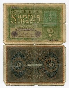 GERMAN OLD 1919 Banknote 50 Mark Reichsbanknote - F