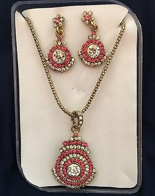 New Indian metal party wear Earrings & Necklace Set - White light pink stones !