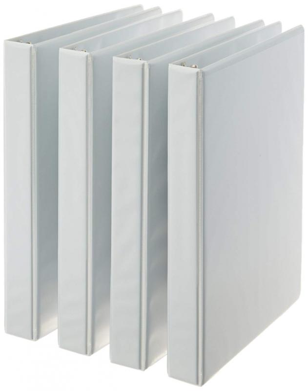 AmazonBasics 3-Ring Binder 4-Pack White 1-Inch