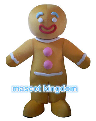 Gingerbreadman Costume (Gingerbread Man Mascot Costume Biscuit Christmas Party Cosplay Character Dress)
