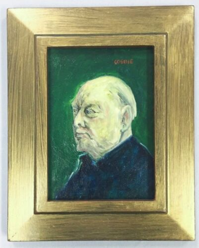 Vintage Signed Oil Board Painting Prime Minister Winston Churchill Britain WWII