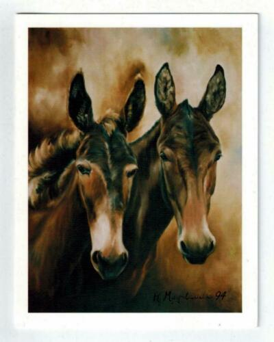 New 2 Black & Brown Mule Notecard Set 12 Note Cards 2 Mules By Ruth Maystead