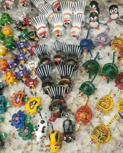 set of 20 Mexican Bobbleheads  folkart Hand Painted Variety of animals birds