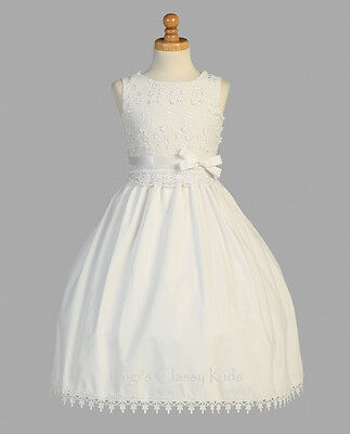 White Flower Girls First Communion Dress Embroidered Cotton Wedding Party - Cotton First Communion Dress