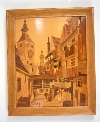Buchschmid & Gretaux German Marquetry Framed Wood Inlay
