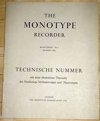 Monotype Corporation London The Recorder XXXIX 3 1952 Setzmaschinen Zeitschrift