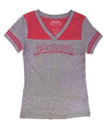 Marvel Ultimate Spider-Man Her Universe Women's Adult Grey V-Neck T-Shirt S-2XL