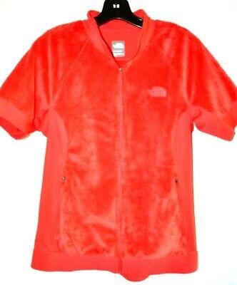 North Face Women's Strawberry Red Zip Front Short Sleeve Fleece Jacket sz M