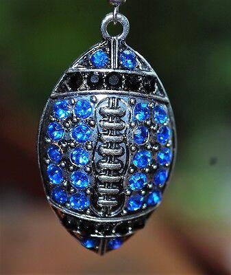 Teal blue & black  rhinestone football  earrings Carolina Panthers Jacksonville