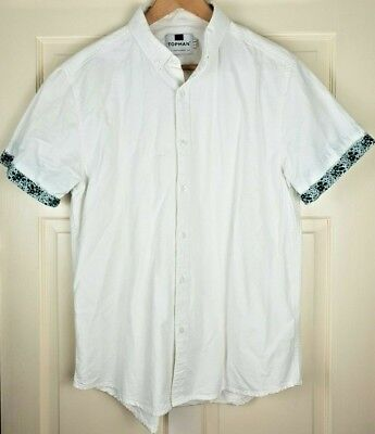Topman Men's White / Blue Floral Trim Short Sleeve Cotton Shirt Size L
