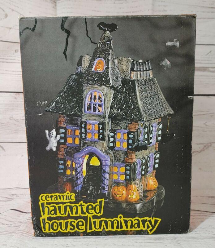 Vintage JC PENNEY Haunted House Ghosts Owl Bats Pumpkins Ceramic Luminary votive