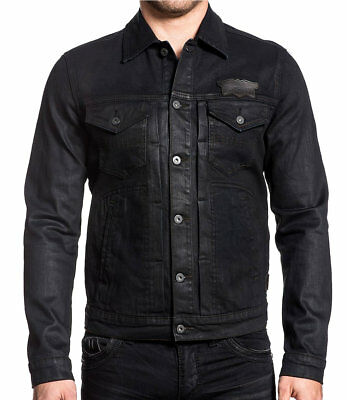 Custom Denim Jacket - Affliction American Customs - AMPLIFY - Men's Denim Jacket - NEW - Black