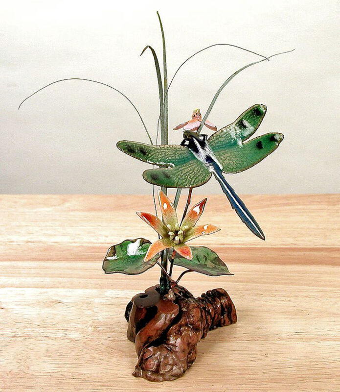 SCULPTURES - DRAGONFLY WITH ORANGE LILY TABLETOP SCULPTURE - WOOD & METAL