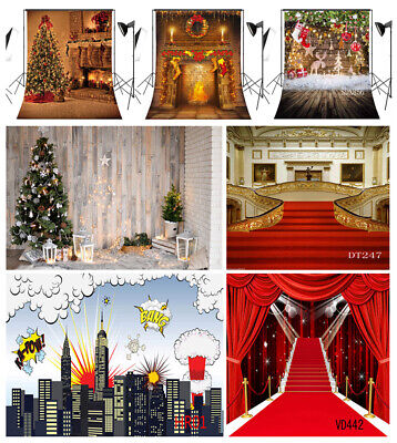 Red Carpet Party Supplies (US 10X10FT 5X7FT Xmas Tree Fireplace Red Carpet Photo Background Vinyl)