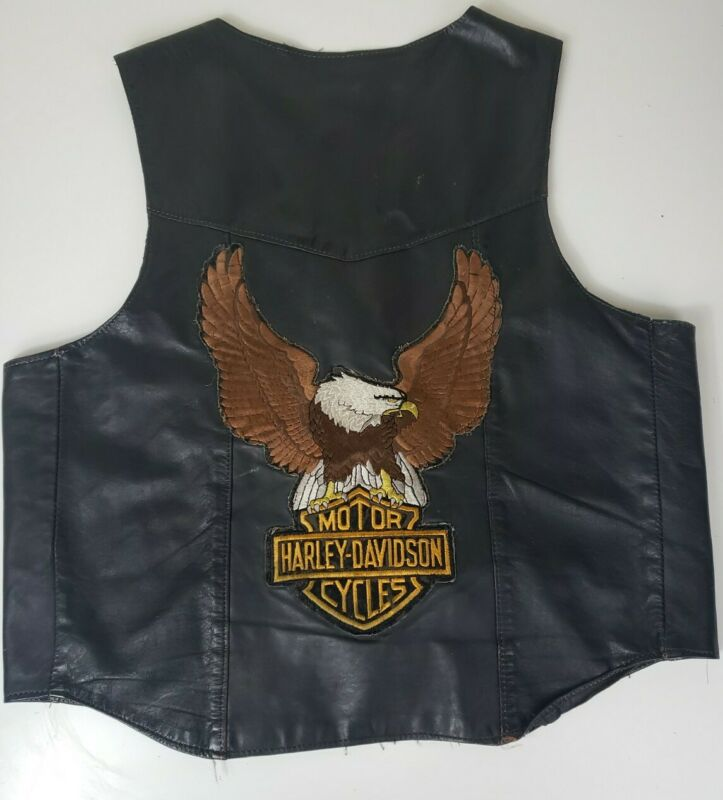 Vintage Leather Motorcycle Vest Harley Davidson LARGE eagle Patch On Back sz Lg